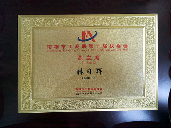 Vice Chairman of the 10th Executive Committee of Nanxiong City Federation of Industry and Commerce